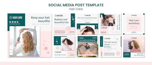 Пост в социальных сетях с советами по уходу за волосами