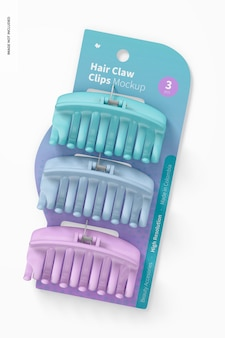 Hair claw clips blister mockup