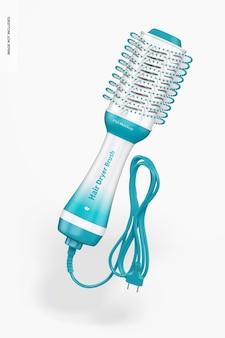 Hair dryer brush mockup, floating