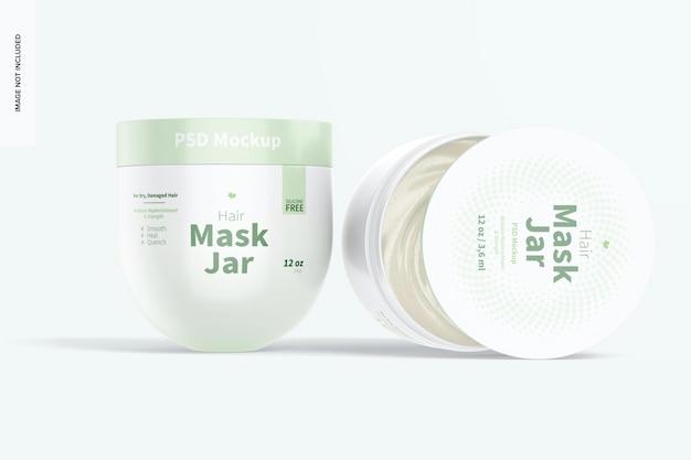 Макет банок с маской для волос, открытые и закрытые