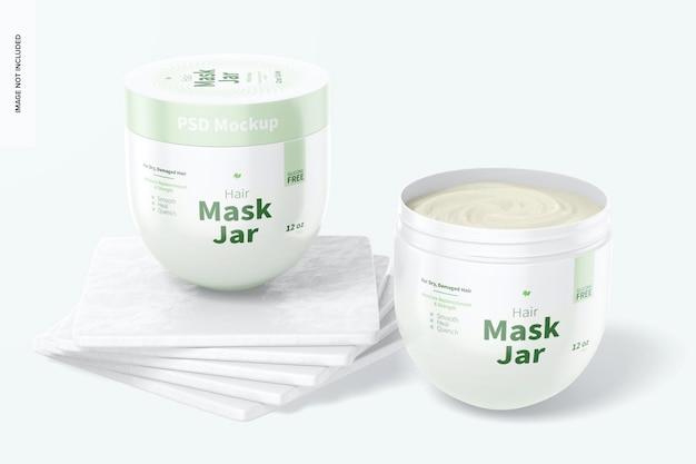 Hair mask jars mockup