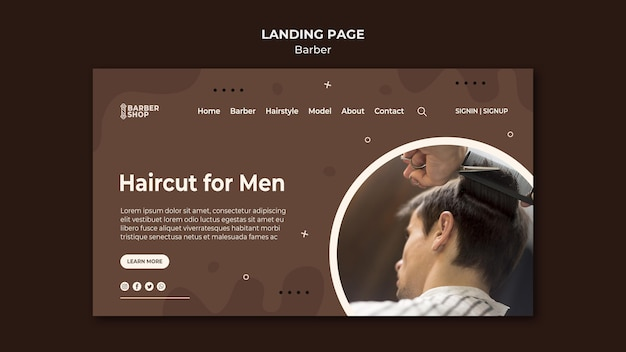 Haircut for men client at the barber shop landing page