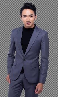 Половина тела портрет, азиатский деловой человек 20-х годов держит руки в темноте. правильный черный костюм, брюки и обувь, студийное освещение, белый фон изолирован, загорелая модель мужского пола создает многие действия, улыбаются умно.