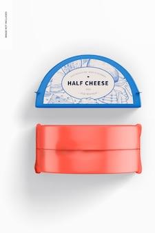 Half cheeses mockup, top view