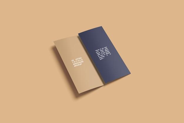 Half folding trifold brochure mockup
