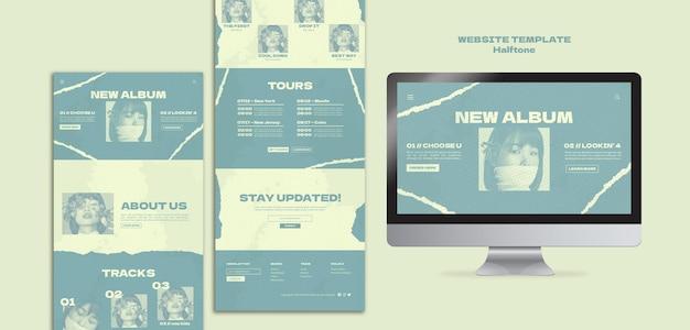 ハーフトーンスタイルの新しい単一のwebサイトテンプレート