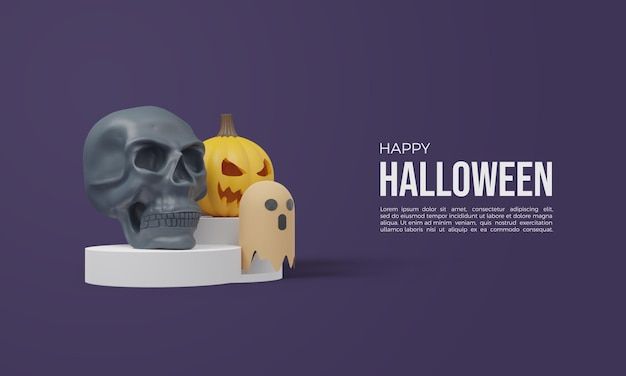 Halloween 3d rendering with 3d skull and orange pumpkin