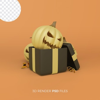 Halloween 3d rendering with black gift box and pumpkin