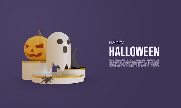 Halloween 3d rendering with ghost and pumpkin 3d