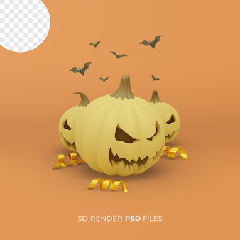 Halloween 3d rendering with pumpkin and gold ribbon
