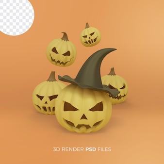Halloween 3d rendering with pumpkin wearing a hat