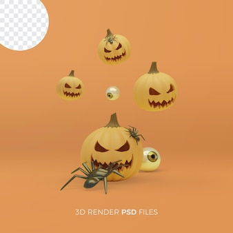 Halloween 3d rendering with pumpkins and spiders