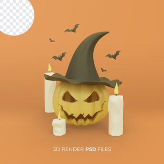 Halloween 3d rendering with realistic pumpkins and candles