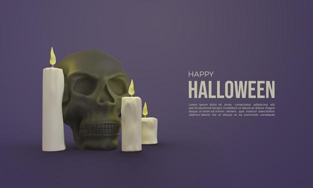 빛나는 두개골과 촛불 할로윈 3d 렌더링 프리미엄 PSD 파일