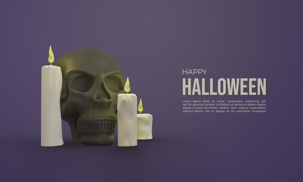 Halloween 3d renderings with glowing skulls and candles