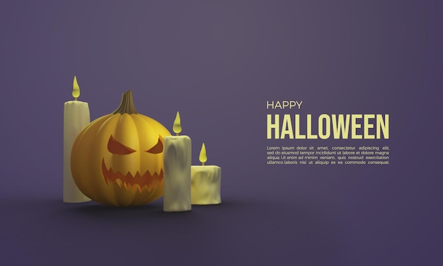 Halloween 3d renderings with pumpkin and glowing candles