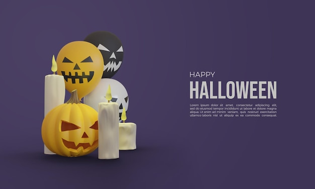 Halloween 3d renderings with pumpkins 3d candles and balloons