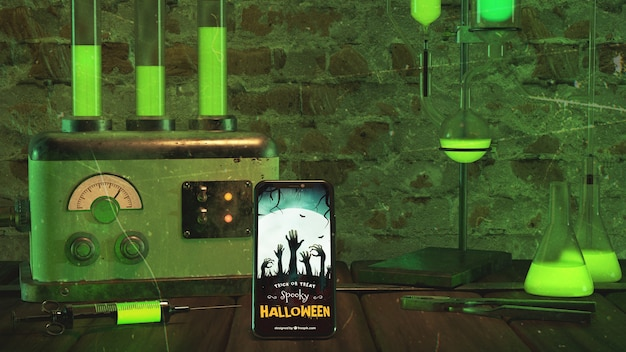 Halloween arrangement with smartphone and old machine