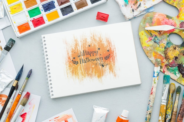 Halloween artistic draw on notebook