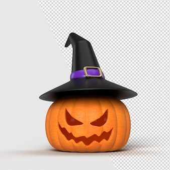 Halloween background mock-up with pumpkins and witch hat. halloween concept mockup