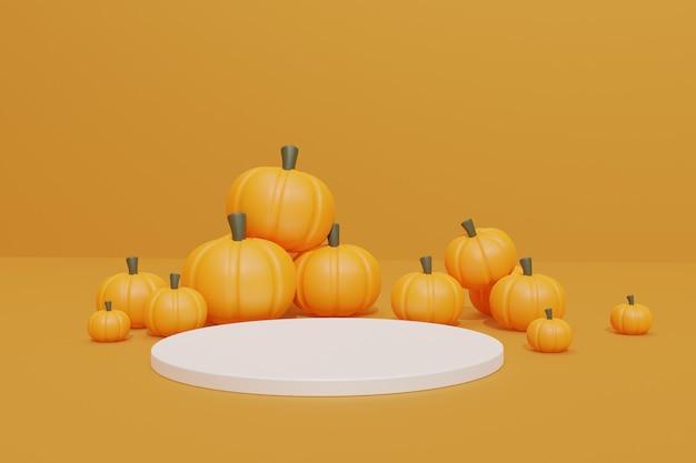 Halloween background with 3d podium round
