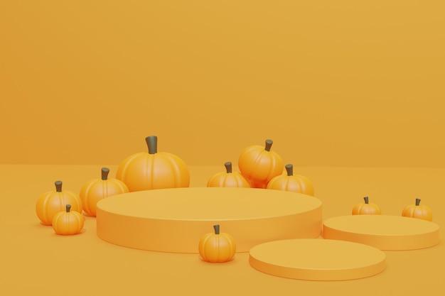Фон хэллоуина с 3d сценой подиума