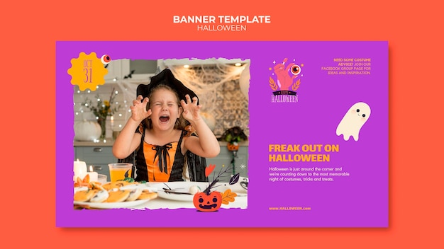 Halloween banner template with photo
