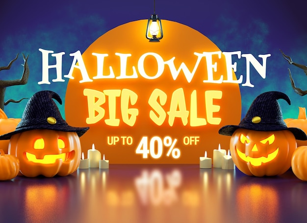 Halloween big sale promotion flyer with pumpkins and luminous lettering in 3d rendering