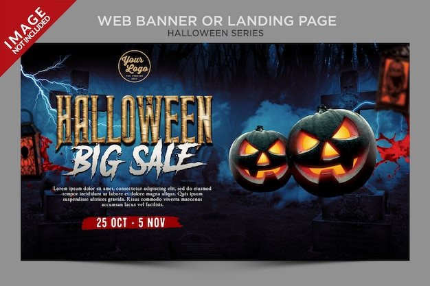 Halloween big sale weekly event landing page or web banner template