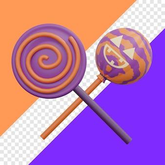Хэллоуин конфеты леденец 3d иллюстрация с прозрачным фоном