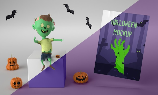 Halloween card mock-up next to smiley zombie