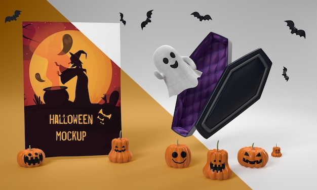 Mock-up di carta di halloween con fantasma spaventoso