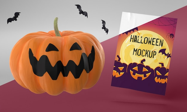 Halloween card mock-up with scary pumpkin