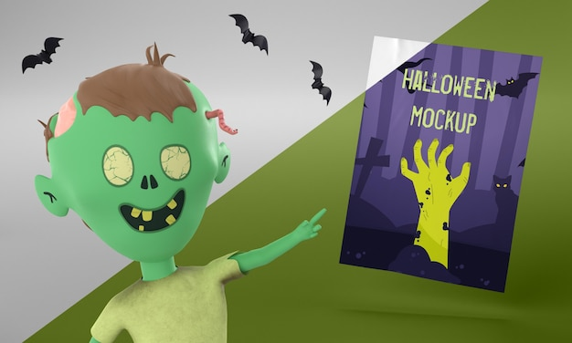 Halloween card mock-up with zombie