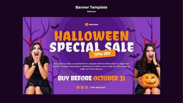 Halloween concept banner template