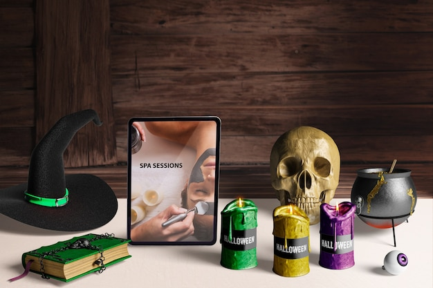テーブルの上のハロウィーンの概念要素