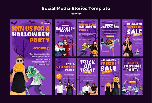 Halloween concept social media stories template