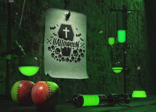 Halloween concept with green neon light