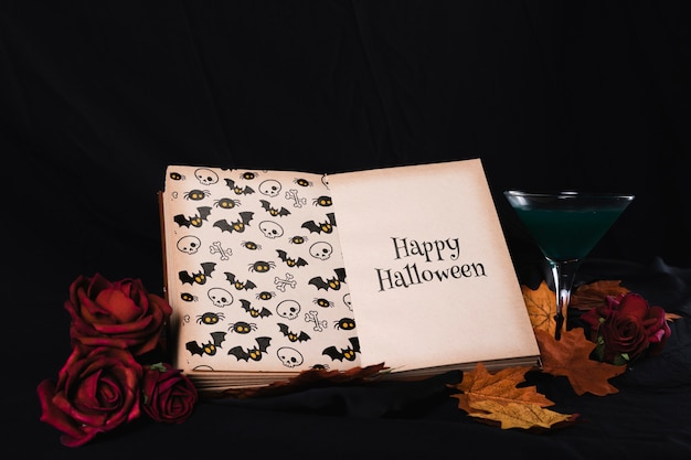 Halloween concept with mock-up book