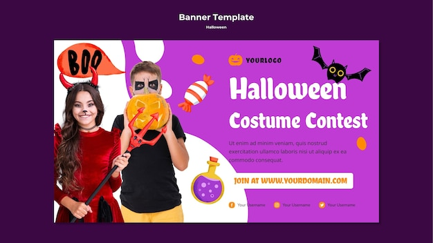 Halloween costume contest banner template