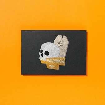 Halloween cover mockup with skull