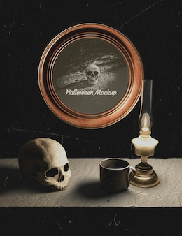 Halloween decoration and round frame with skull