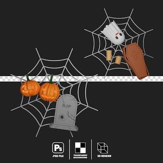 Halloween decorative concept on flat lay