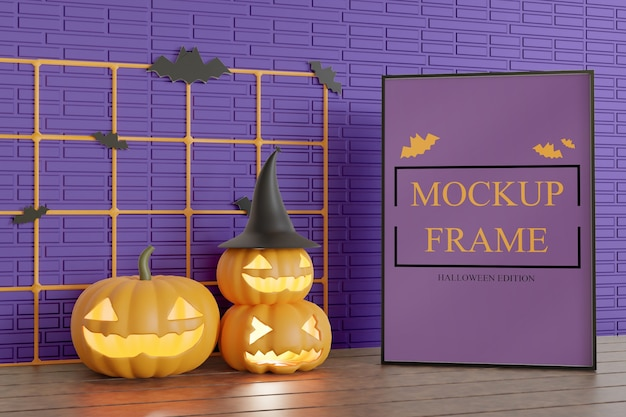 Halloween edition frame mockup on the table