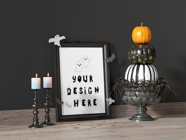 Halloween event decoration frame mockup with colorful pumpkins and white candles