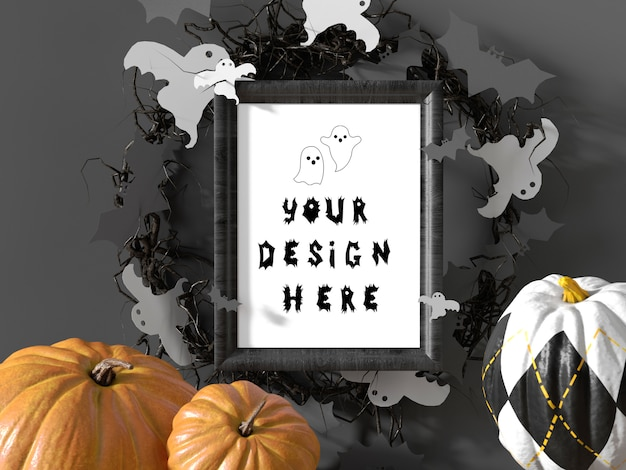 Halloween event decoration frame mockup with pumpkins and flying bats