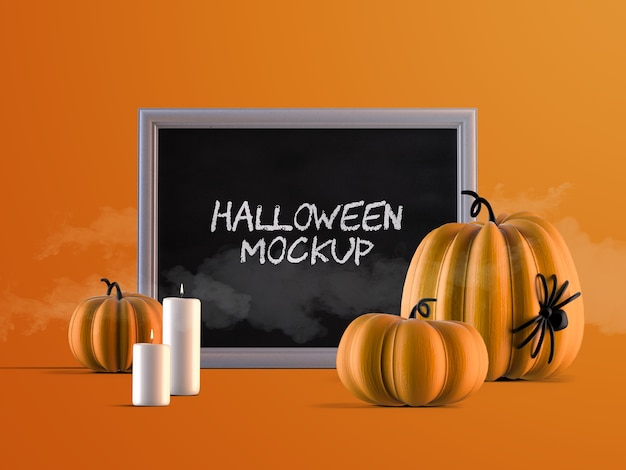 Halloween event decoration mockup with horizontal frame, pumpkins and candles