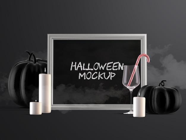Макет оформления мероприятия на хэллоуин с горизонтальной рамкой, тыквами, конфетами и свечами