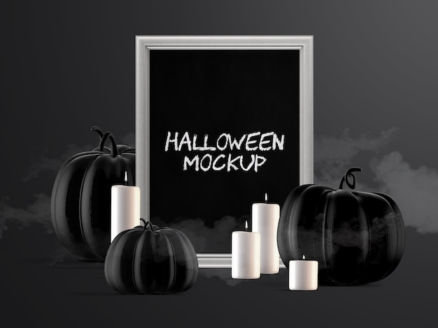 Halloween event decoration mockup with vertical frame, pumpkins and candles