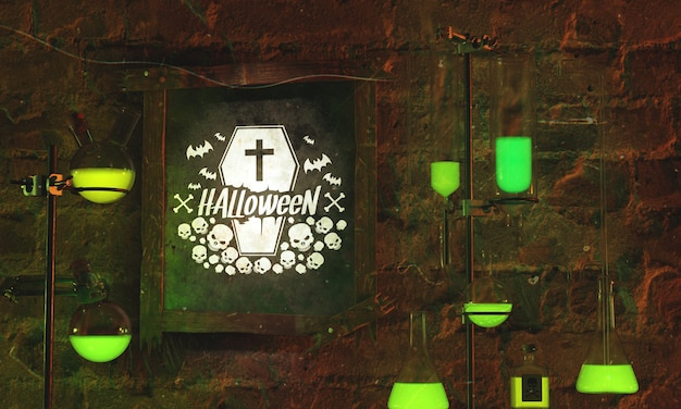 Концепция кадра хэллоуин на фоне камня